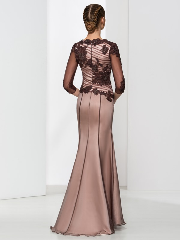 Classy Half Sleeve Appliques Beading Sheath Evening Dress