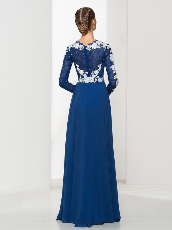 Vintage V-Neck Long Sleeves Appliques Long Evening Dress