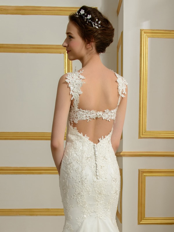 Lace Appliques Straps Mermaid Wedding Dress