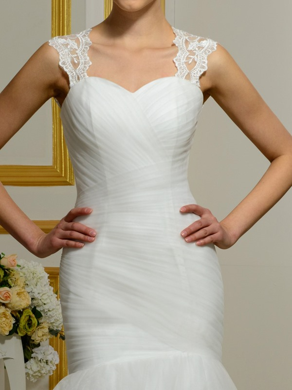 Sweetheart Detachable Straps Mermaid Wedding Dress