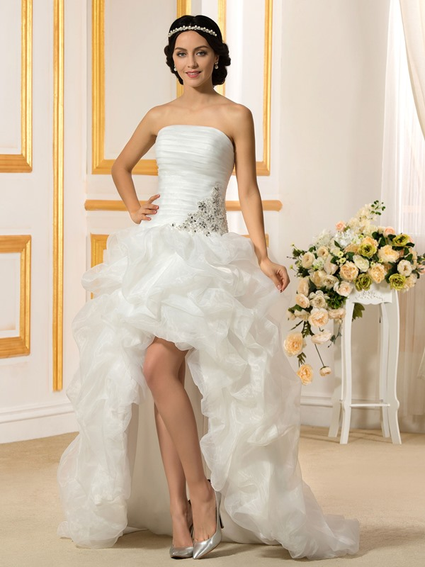 Strapless High Low Ruffles Wedding Dress