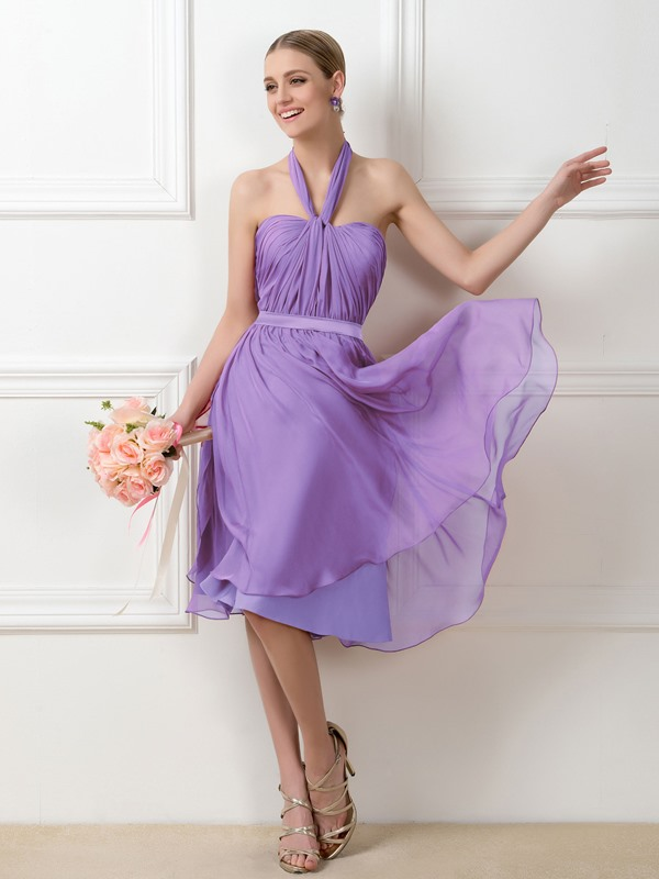 Convertible Purple Knee-Length Short Bridesmaid Dress
