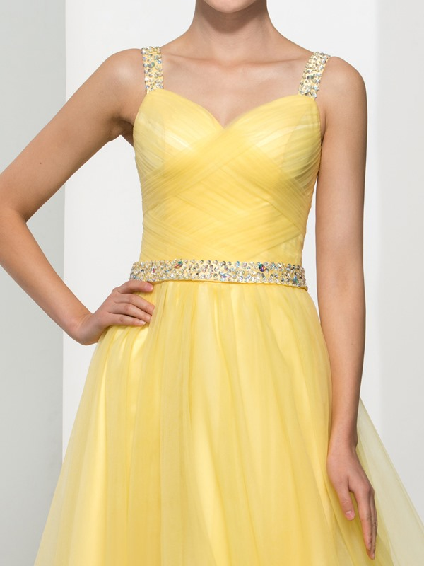 Fancy Straps A-Line Sequins Beading Tulle Prom Dress