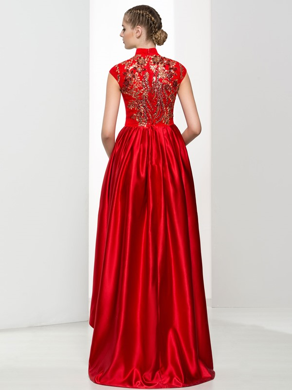 Vintage High Neck Appliques High Low Red Lace Prom Dress