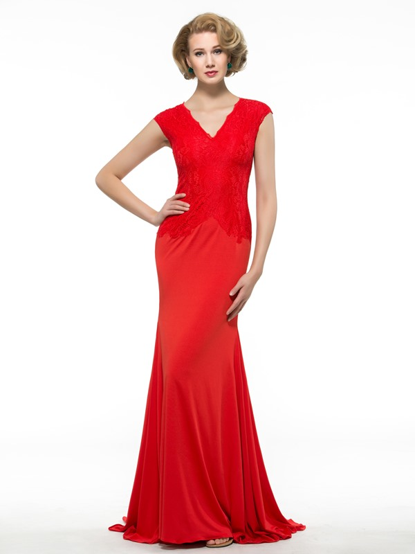 Lace V-Neck Zip-up Red Spandex Mermaid Mother of the Bride Dress