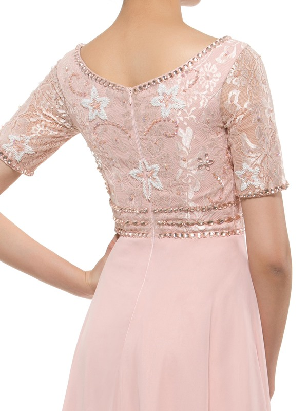 Short Sleeve Lace Beaded Mother of the Bride Dress