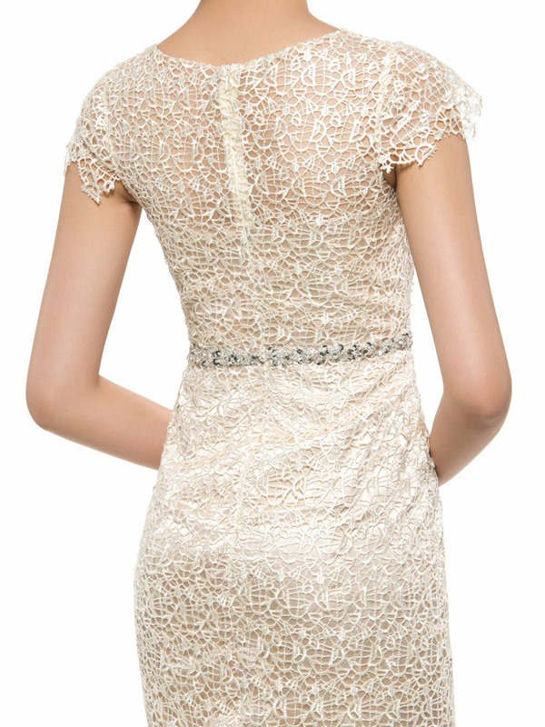 Knee Length Sheath Lace Mother Dress with Crystal Belt