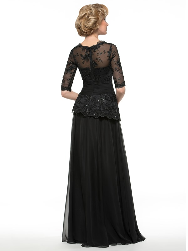 Half Sleeve Appliques Mother of the Bride Dress