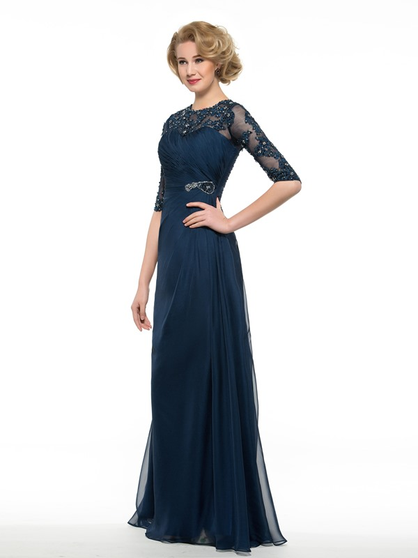 Beaded Half Sleeve Mother of the Bride Dress