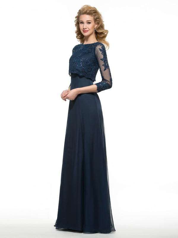 Sequined Appliques 3/4 Sleeves Mother of the Bride Dress