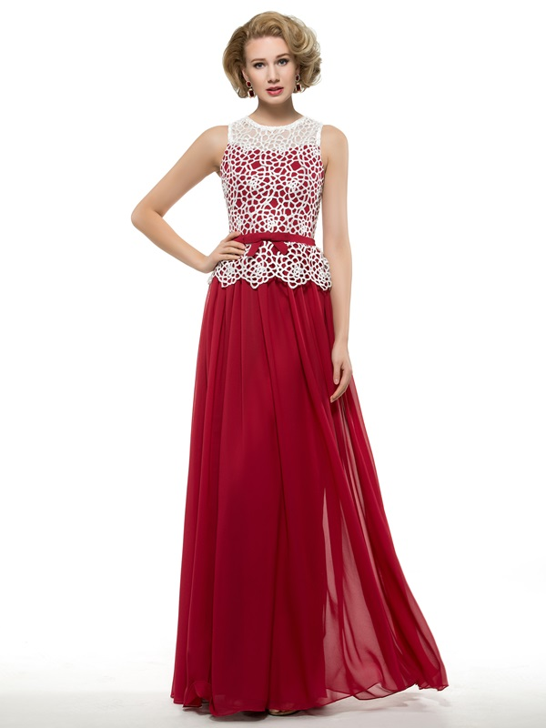 Floor Length A-Line Burgundy Mother of the Bride Dress