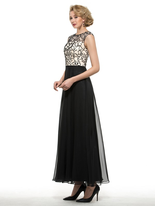 Beaded Jewel Neck Ankle Length Mother of the Bride Dress