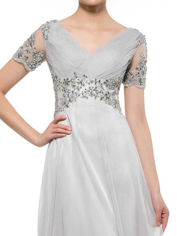 Brilliant Appliques Beading Mother of the Bride Dress with Short Sleeves