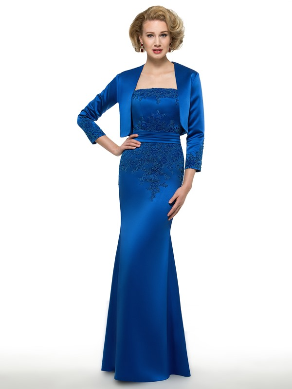 Strapless Appliques Sheath Mother Dress With Jacket