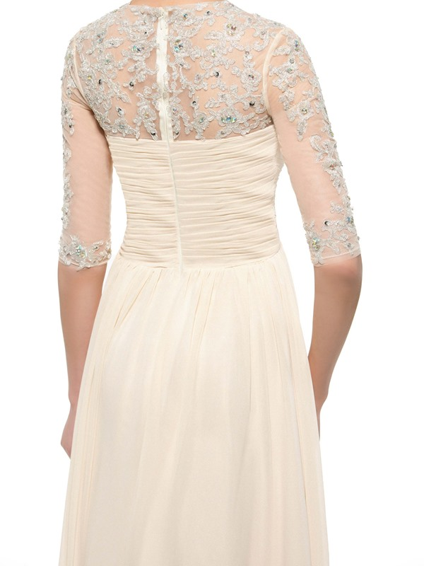Beaded Appliques Half Sleeve Mother of the Bride Dress