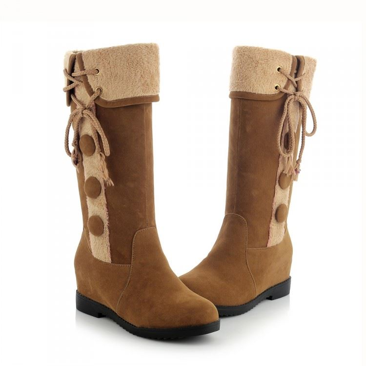 Button Suede Knee High Snow Boots