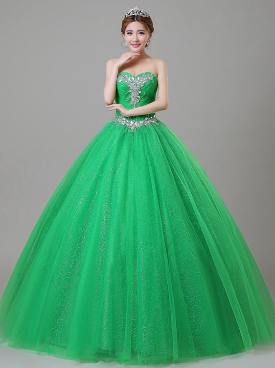 Chic Sweetheart A-Line Beaded Pleats Lace-up Quinceanera Dress