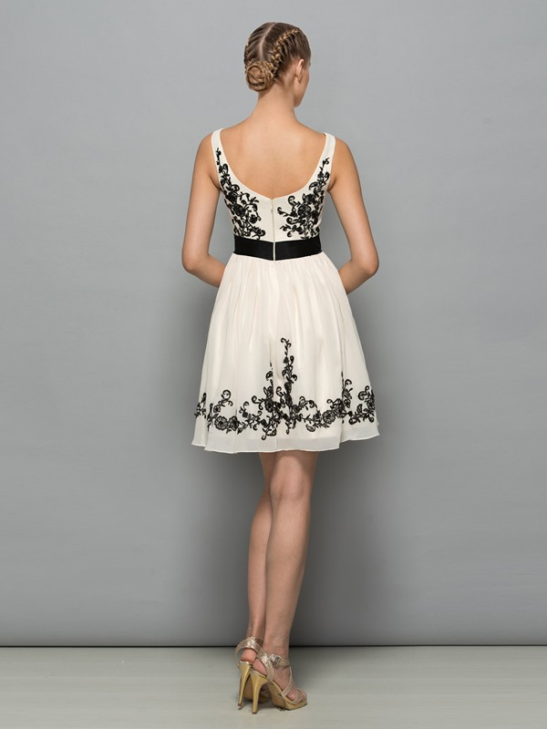 Square Neck Appliques Bowknot Short Cocktail Dress