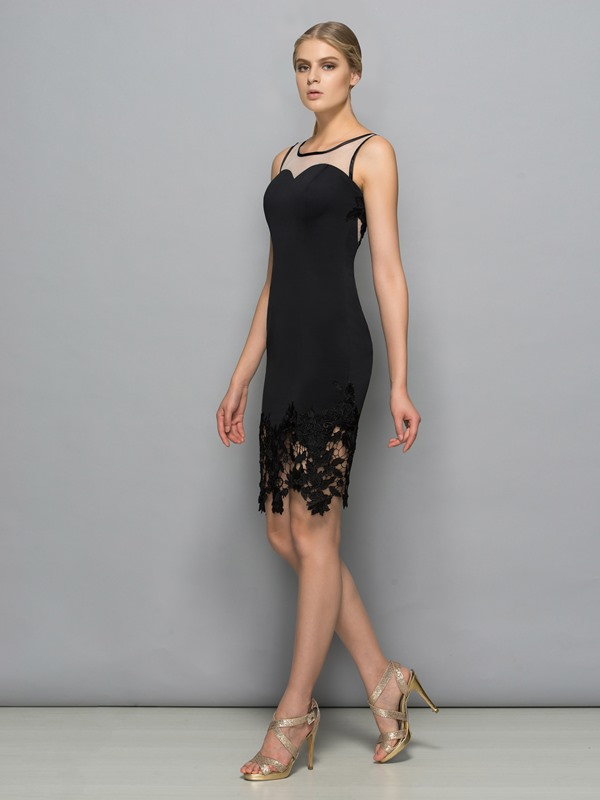 Chic Square Neck Lace Sheath Black Cocktail Dress