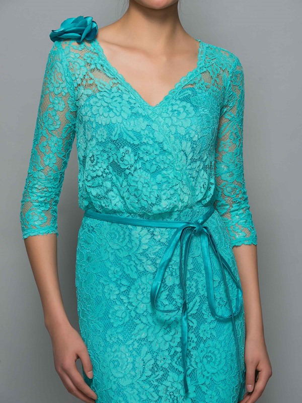 Vintage V-Neck Half Sleeve Sheath Lace Formal Dress