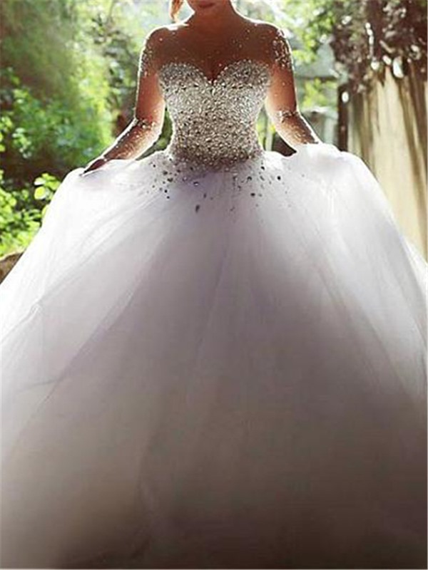 Sheer Neck Beaded Ball Gown Wedding Dress