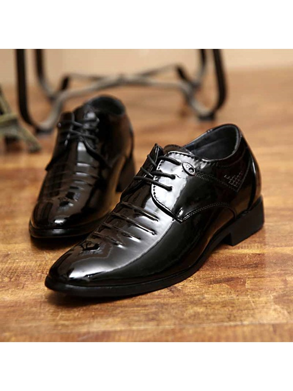 Ruched Square Heel Lace-Up Men's Dress Shoes