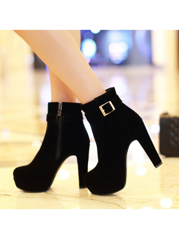 Buckle Suede Platform Ankle Boots
