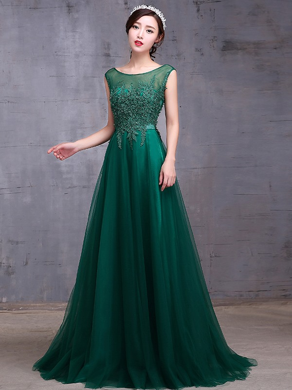 Elegant Sheer Neck A-Line Appliques Long Prom Dress(Free Shipping)