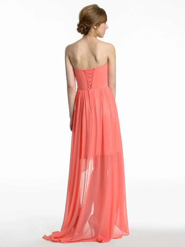 Ruched Sweetheart Crystal Waist High Low Bridesmaid Dress