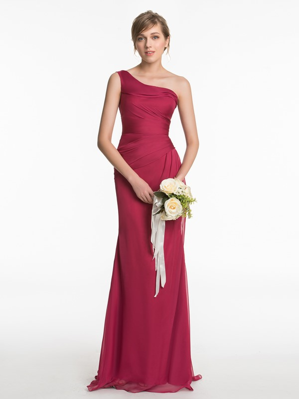One Shoulder Sheath Long Bridesmaid Dress