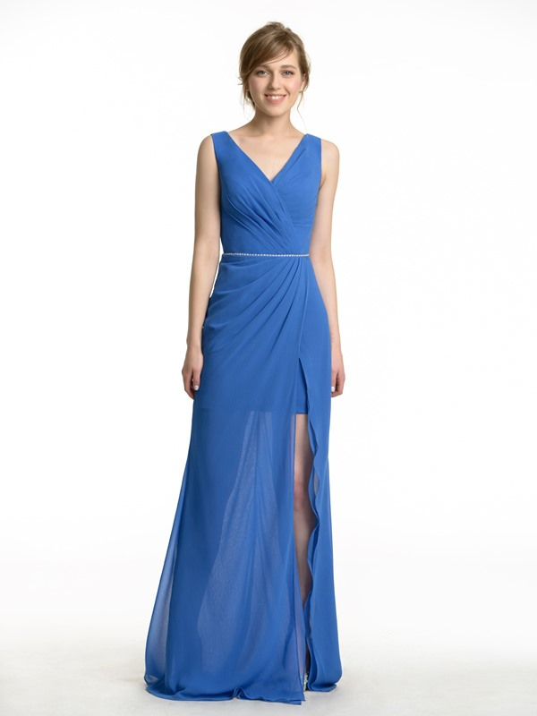 Pleated V-Neck Split-front Long Bridesmaid Dress