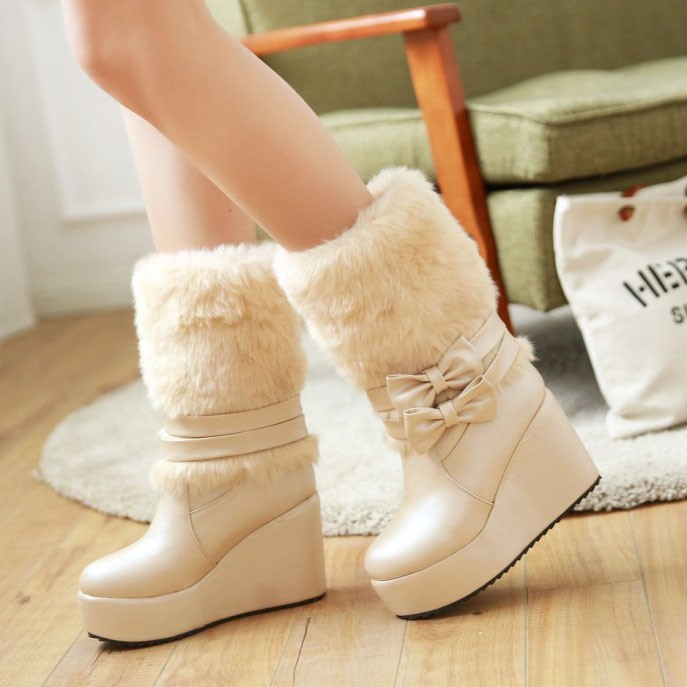 PU Slip-On Bowknots Bow Women's Wedge Boots