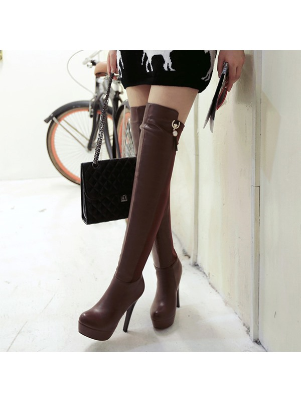 Faux Suede Pearl Stiletto Bling Over Knee Boots