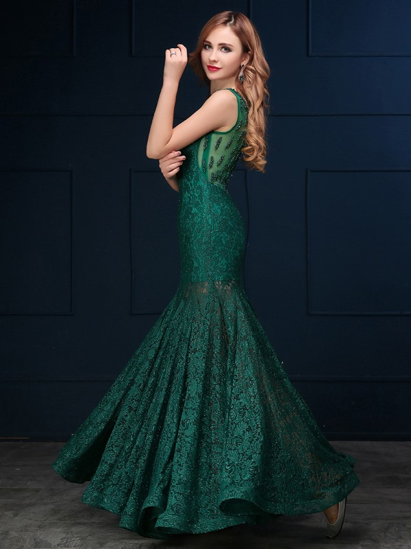 Vintage Scoop Neck Beading Lace Evening Dress