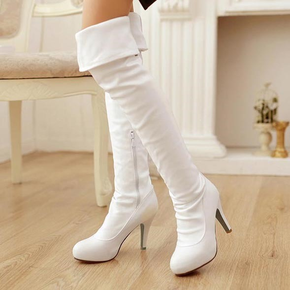 Solid Color PU Zippered Over Knee Boots