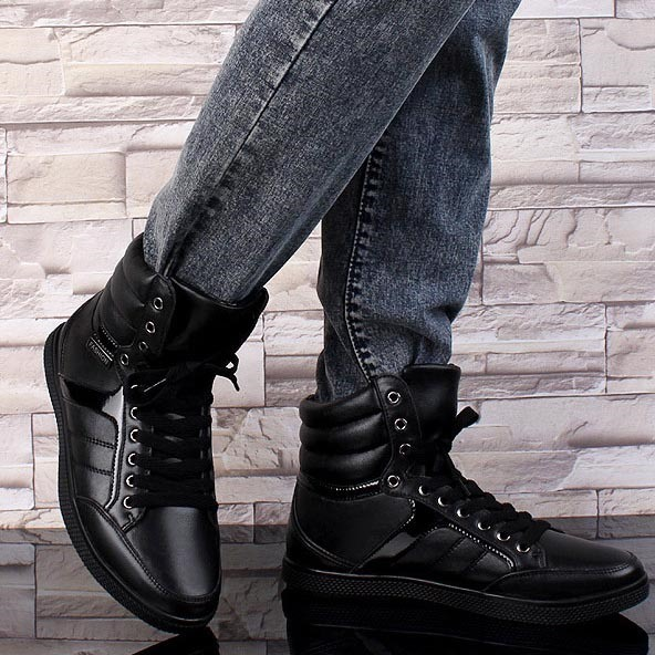 Black PU Flat Heel Men's Boots