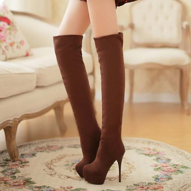 Solid Color Fold Over Stiletto Heel Thigh High Boots