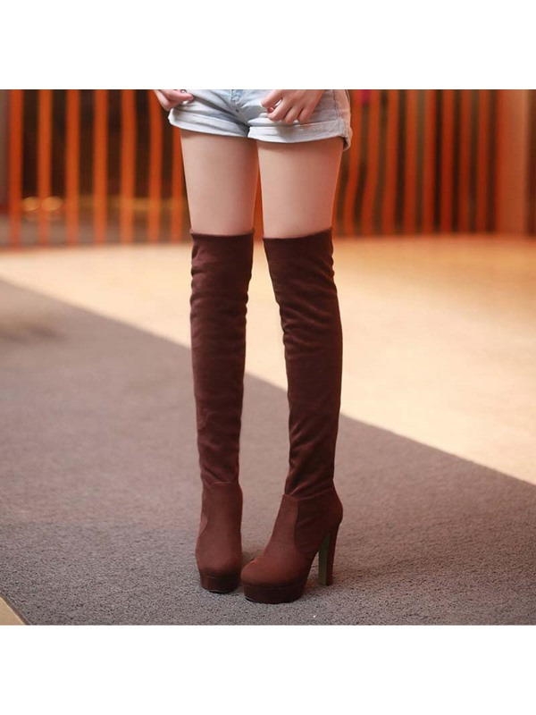 Solid Color Chunky Heel Thigh High Boots
