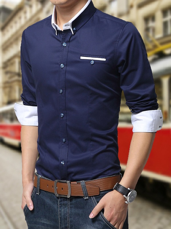 Solid Color Lapel Chest Faux Pocket Men's Shirt