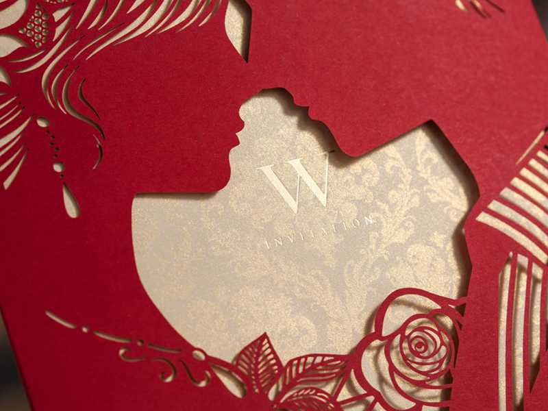 Floral Cut-outs Wedding Invitations (20 Pieces One Set)