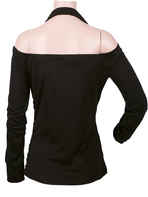 Stylish Hollow Sleeves Sexy Collar T-Shirt