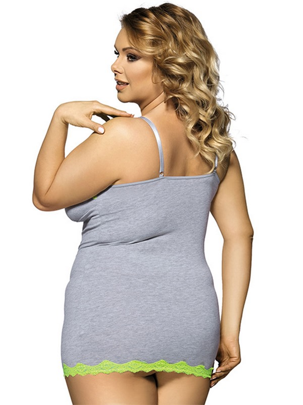 Plus Size Women's Cotton Lingerie Sexy V-neck Gray Babydoll