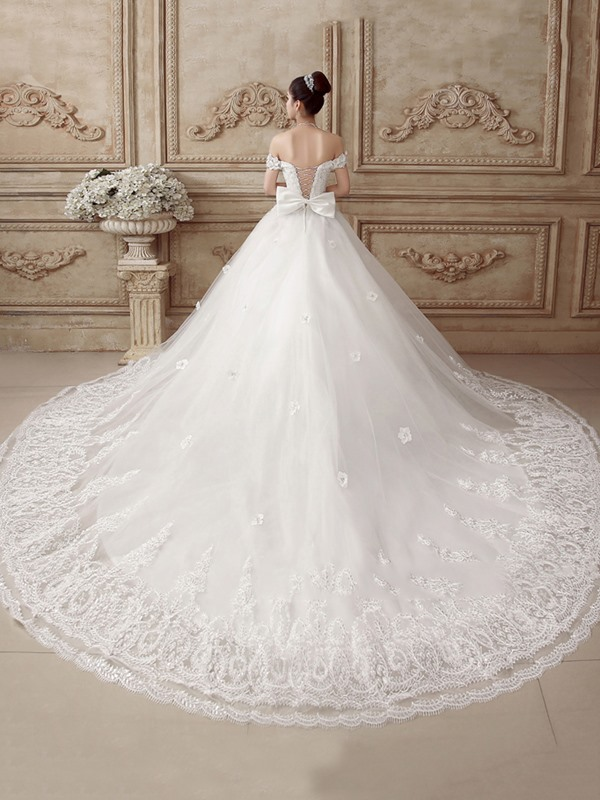 Flowers Beaded Off the Shoulder Appliques Wedding Dress