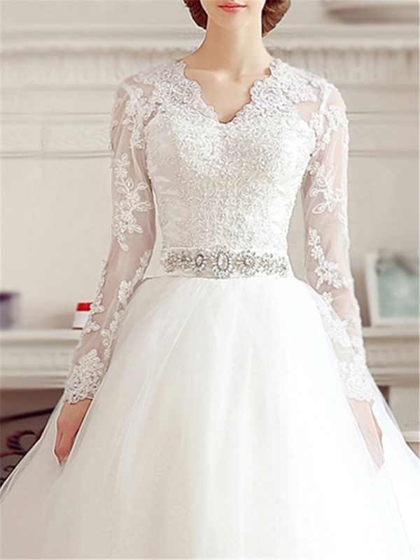Puffy A-Line Beaded Lace V-Neck Long Sleeve Wedding Dress