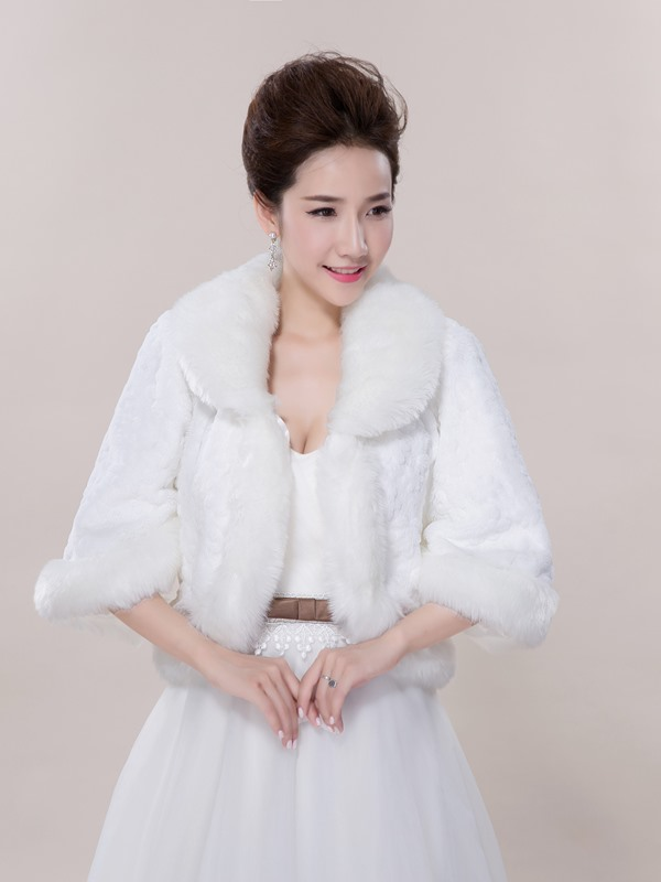 White Wedding Fur Jacket Wedding Shawl