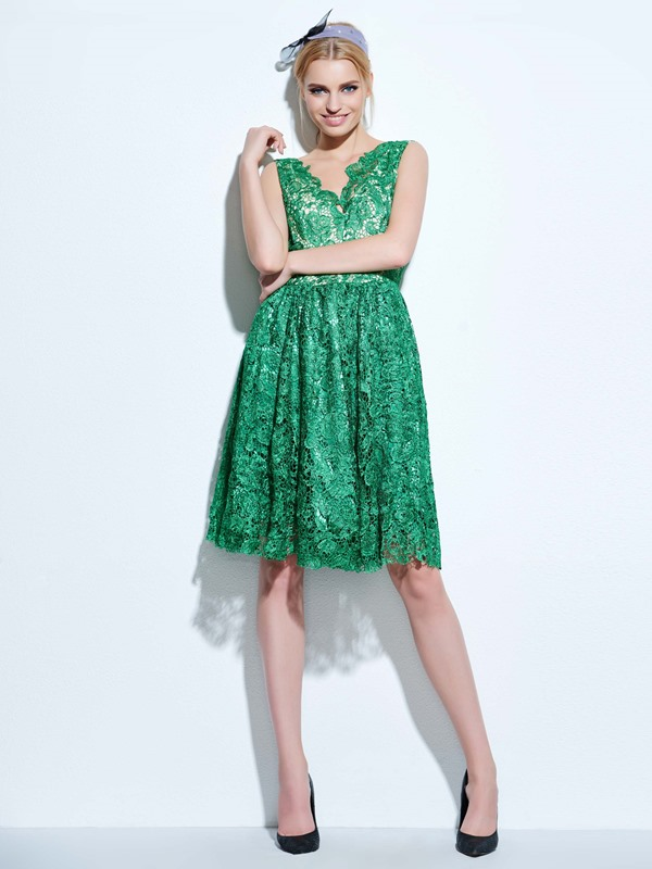 Plain Sleeveless A-Line Women's Lace Dress