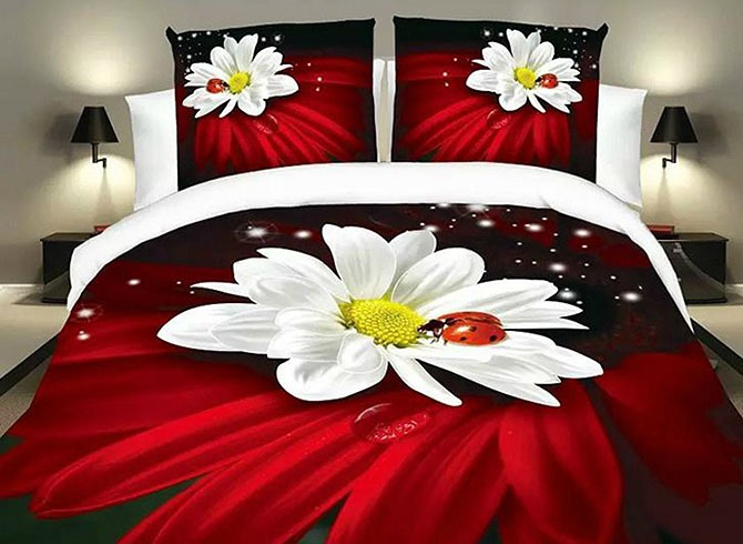 Ladybird and Flower Image 4 Piece Bedding Sets (Free Shipping)