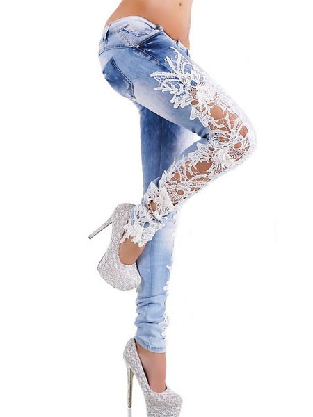 Chic Lace Designed Hollow Pencil Jean