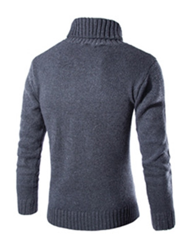 High Collar Twisting Decorated Solid Color Men's Sweater