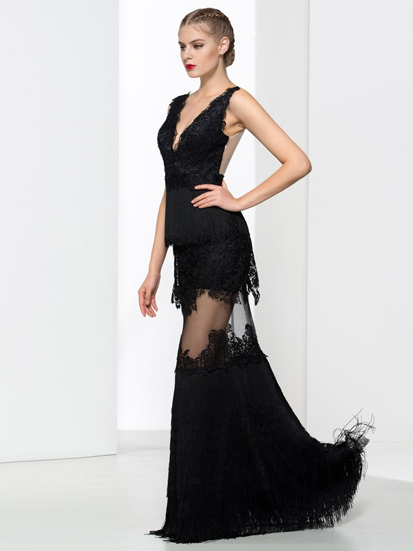 Sexy V-Neck Appliques Tassel Sheath Evening Dress